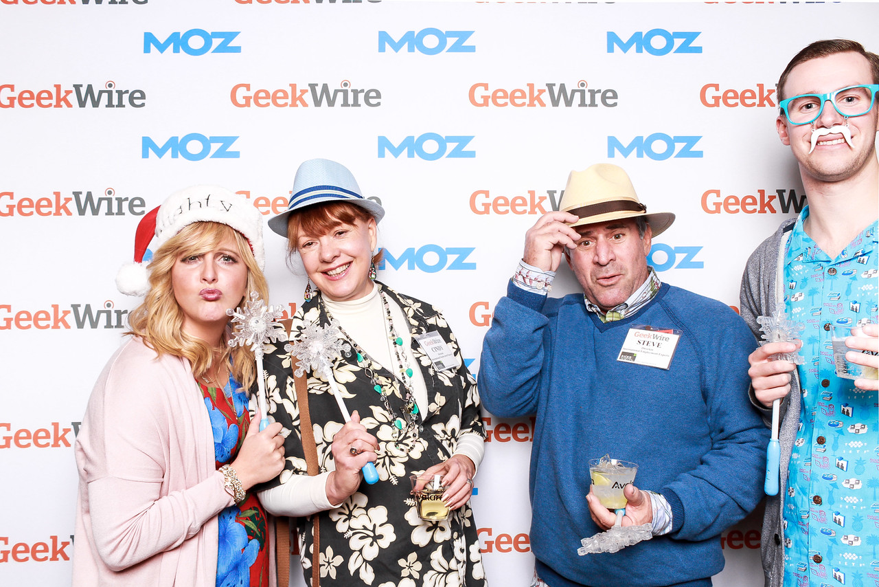 Photo: Angela, Cindy, Steve and Tanner pose in the Moz photo booth at the Geekwire Gala.